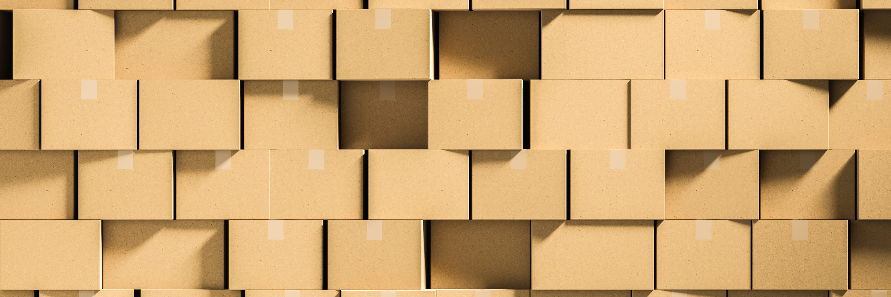 Wall of closed cardboard boxes on floor mock up